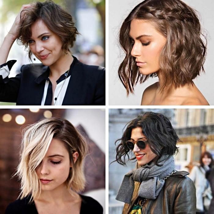 modèles de coiffure carré plongeant sur cheveux courts ou mi longs, coloration tendance aux racines foncées et pointes blondes