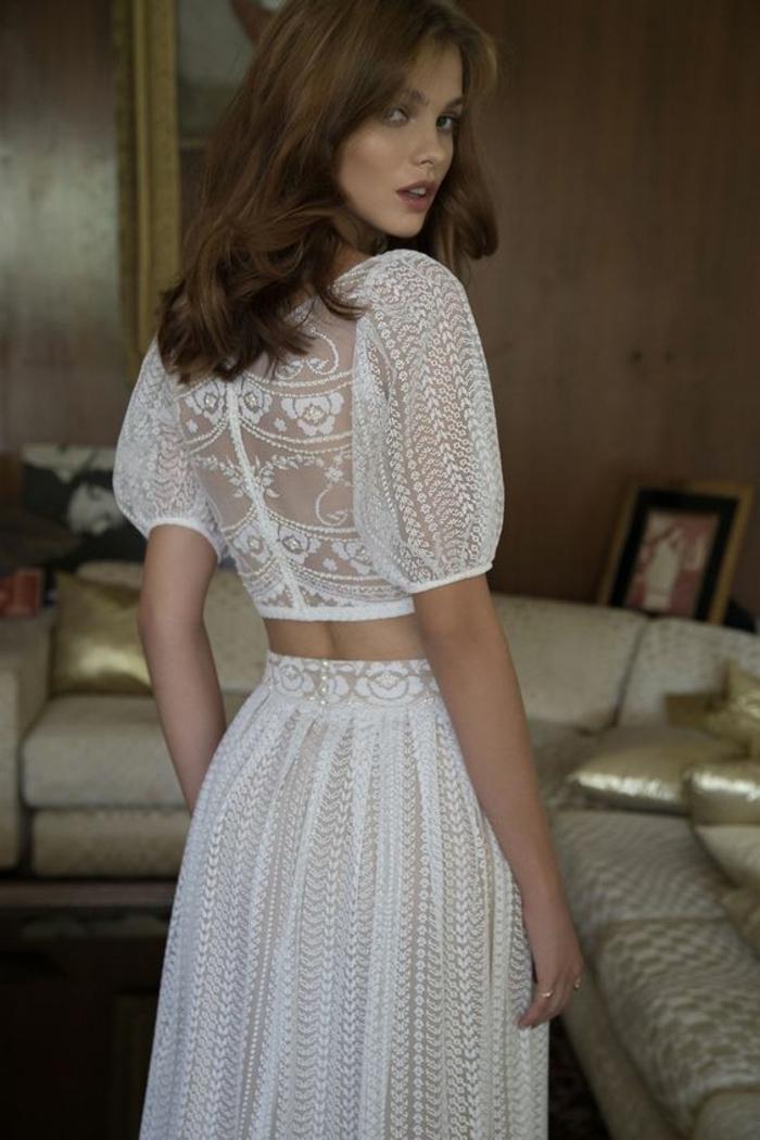 Femme beauté mariage robe de mariée simple et chic robe de marie dentelle robe de merveille blanche robe boheme deux pieces