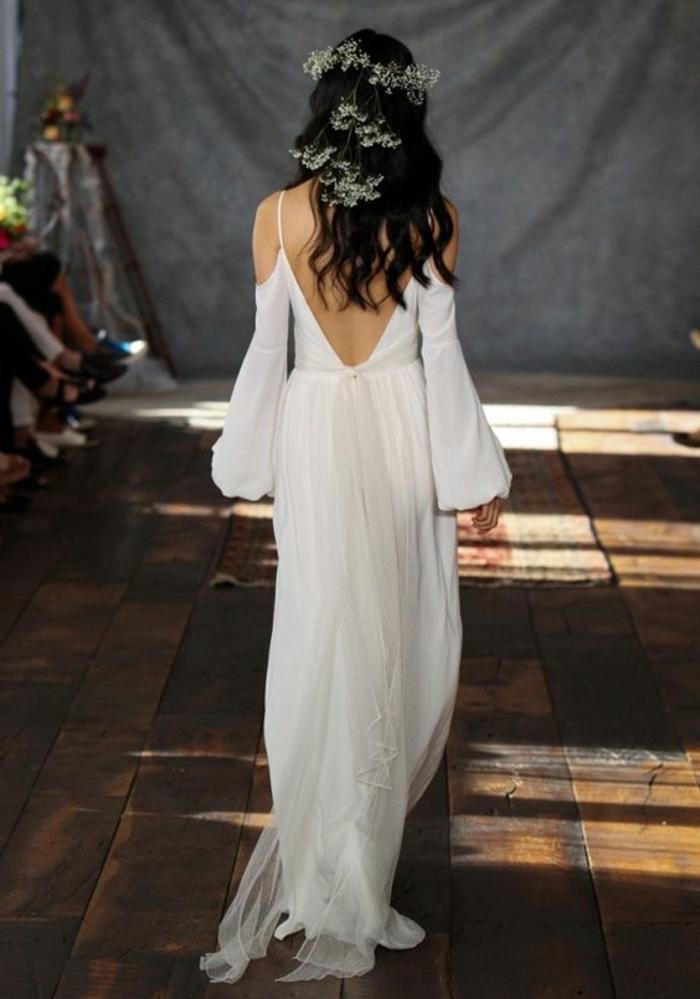 Mariage photo de robe bohème chic robe de mariée longue blanche idée robe de mariage chic et romantique femme habillée