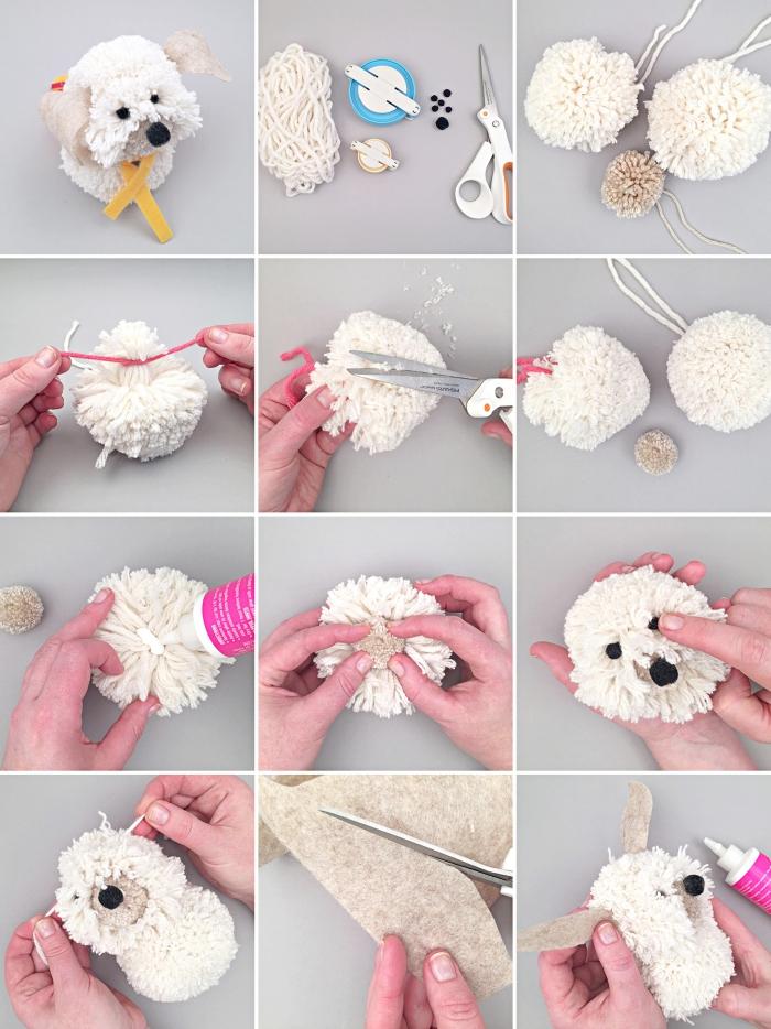 étapes à suivre pour faire une figurine animale doudou à design chien blanc, comment faire un pompon avec appareil