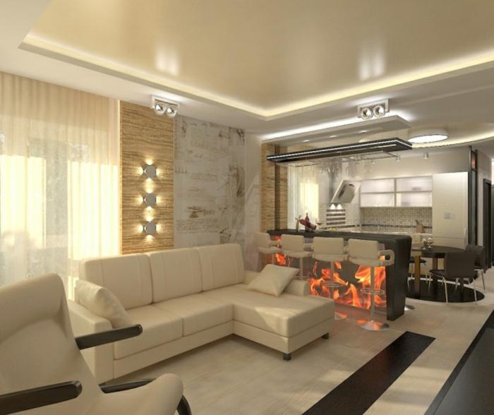 couleur de peinture pour salon et cuisine, bar de cuisine avec des chaises hautes de cuisine, plafond beige, tapis beige, sofa d'angle beige