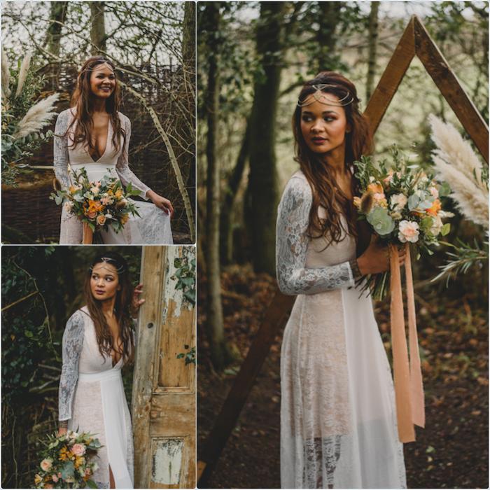 Robe de mariée 2018 robe dentelle mariage luxueuse robe de mariage magnifique bohème robe dentelle