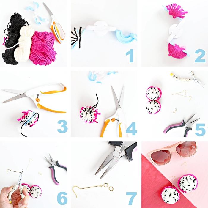 étapes à suivre pour faire des bijoux DIY tendance femme, modèle de boucles d'oreilles faites de boules de laine