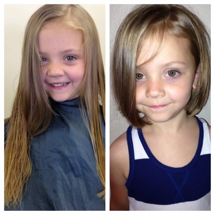 Coupe petite fille cheveux long coupe mi long frange adorable enfant photo avant et après la coupe des cheveux enfant