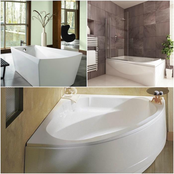 collage de différents modèles de baignoire, ilot douche ou d angle