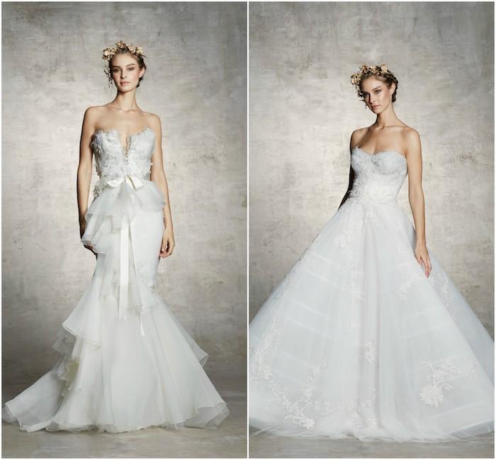 robe de mariée princesse des contes de fée coupe fourreau jupe en tulle et top en plumes et robe coupe princesse