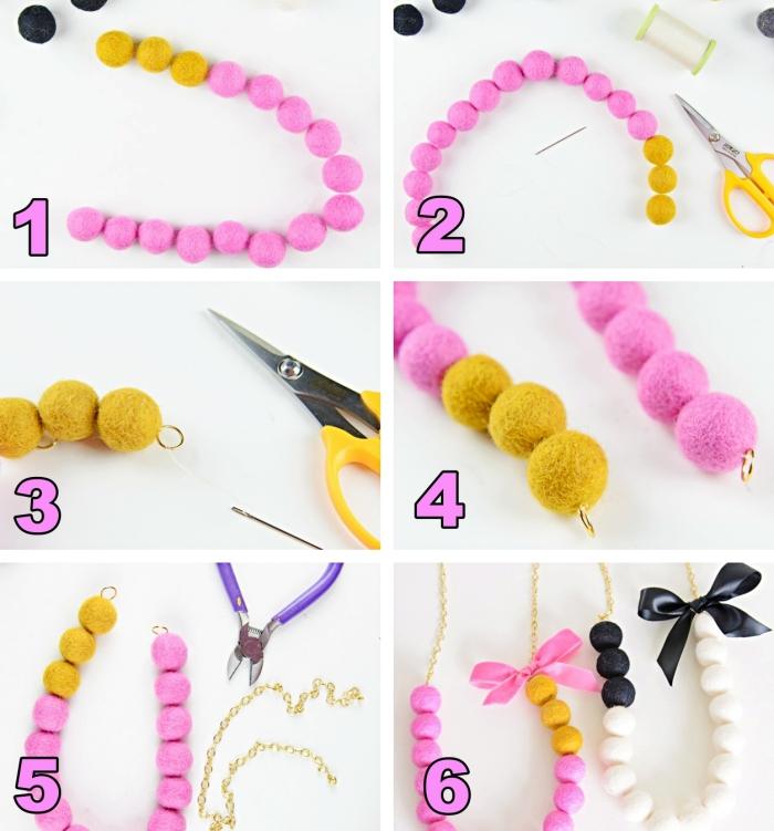 tutoriel facile pour apprendre comment faire un collier en mini pompons de couleurs rose et jaune moutarde avec ruban rose et noir