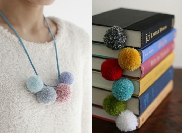 modèles d'objets et accessoires diy fabriqués avec laine, modèle de collier tendance femme avec pompons de couleur pastel