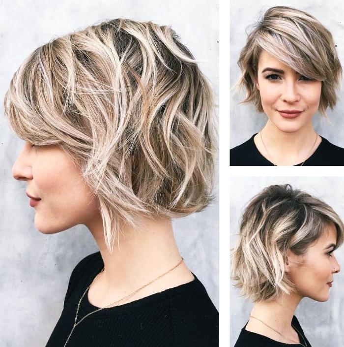 idée comment styliser ses cheveux courts avec frange longue de côté, coloration tendance moderne aux racines foncées et pointes éclaircies