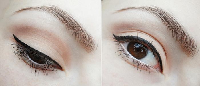 maquillage élégant rockabilly, style années 60, maquillage yeux marron en rose et beige