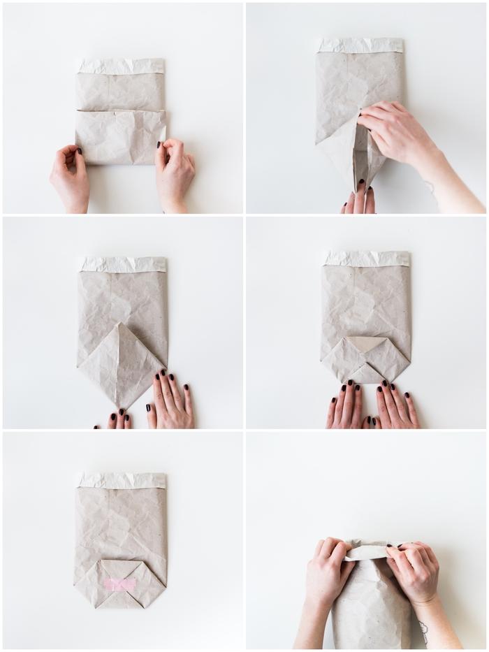 les étapes de pliage final du papier kraft pour réaliser un cache-pot original ou pour emballer un bouquet comme un fleuriste, une activité manuelle fete des meres avec du papier