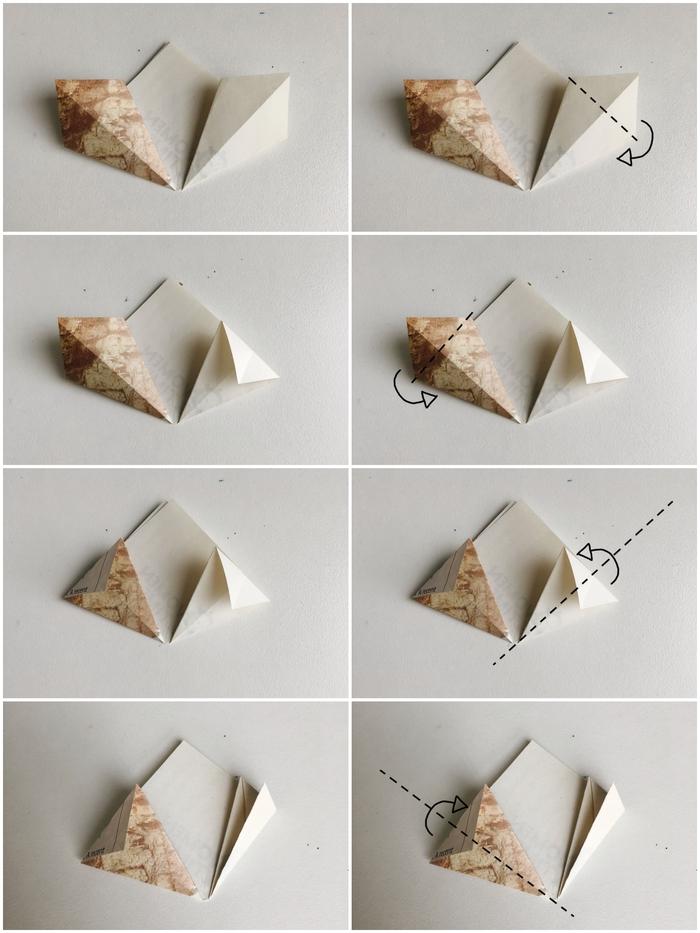 les étapes du pliage d'un modele origami fleur facile réalisé en peu de temps avec lequel on peut faire un joli bouquet de fleurs en papier