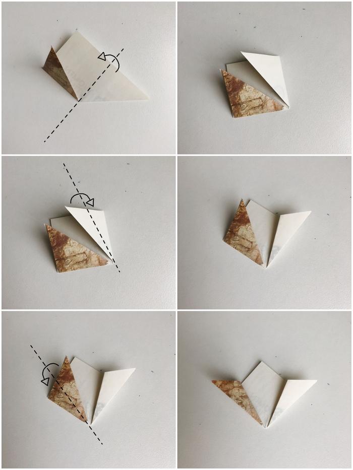 tuto fleur en papier avec les plis origami de base expliqués en détails