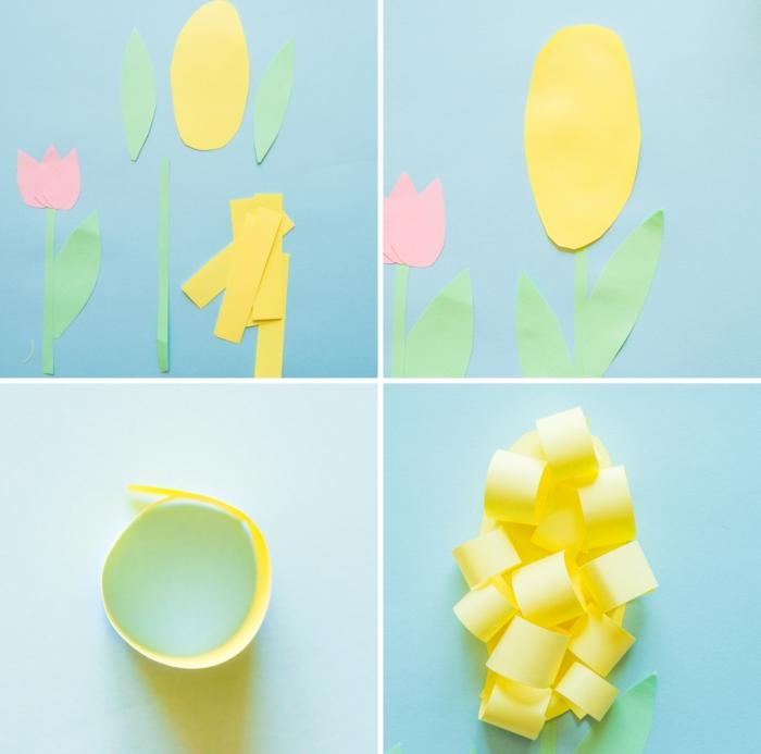 technique de pliage papier facile, tutoriel origami fleur facile, comment réaliser une fleur origami en papier jaune et verte