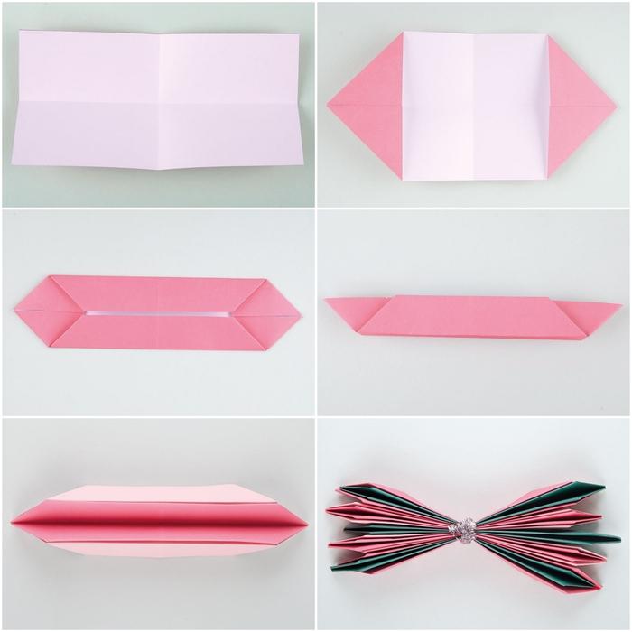 les étapes de pliage d'un modèle origami fleur de lotus qui se transformera en jolie déco murale aérienne