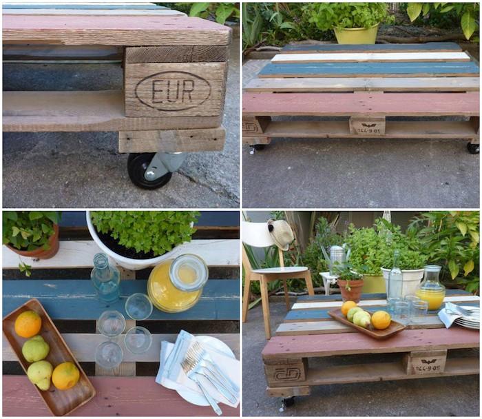 idée pour faire une table basse en palette soi-même, une palette repeinte en couleurs à roulettes