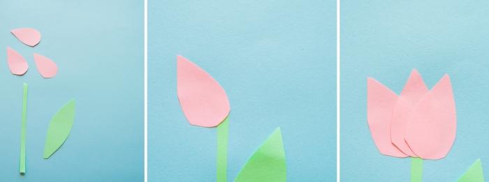 idée activité manuelle créative pour enfant, exemple comment créer une fleur en origami facile en forme de tulipe