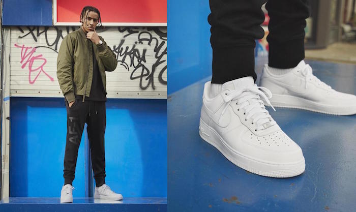 chaussure homme stylé sneakers rétro air force 1 nike toutes blanches