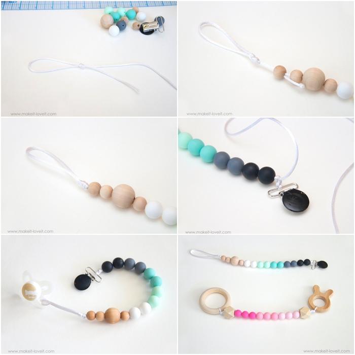tuto facile pour réaliser une attache tétine personnalisée avec des perles en bois en dégradé de couleurs