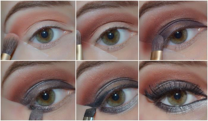 se maquiller les yeux aux couleurs de l'aube, deux couleurs de fard et crayon gris