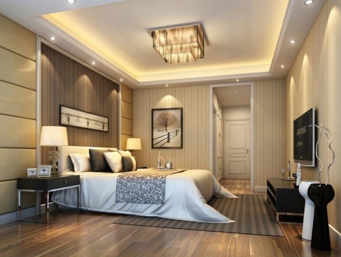 comment orienter son lit dans une chambre zen, ambiance neutre, plafonnier rectangulaire, faux plafond