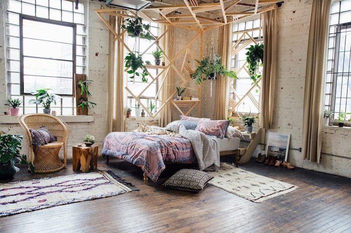 La plus belle chambre à coucher style moderne inspiration deco photo chambre bohème chic bois éléments de style scandinave