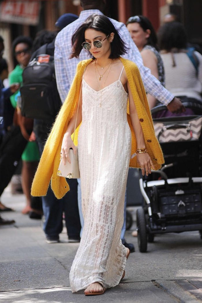 Longue robe d été vanessa hudgens robe blanche sans manche tenue chic boheme vêtements bohème chic