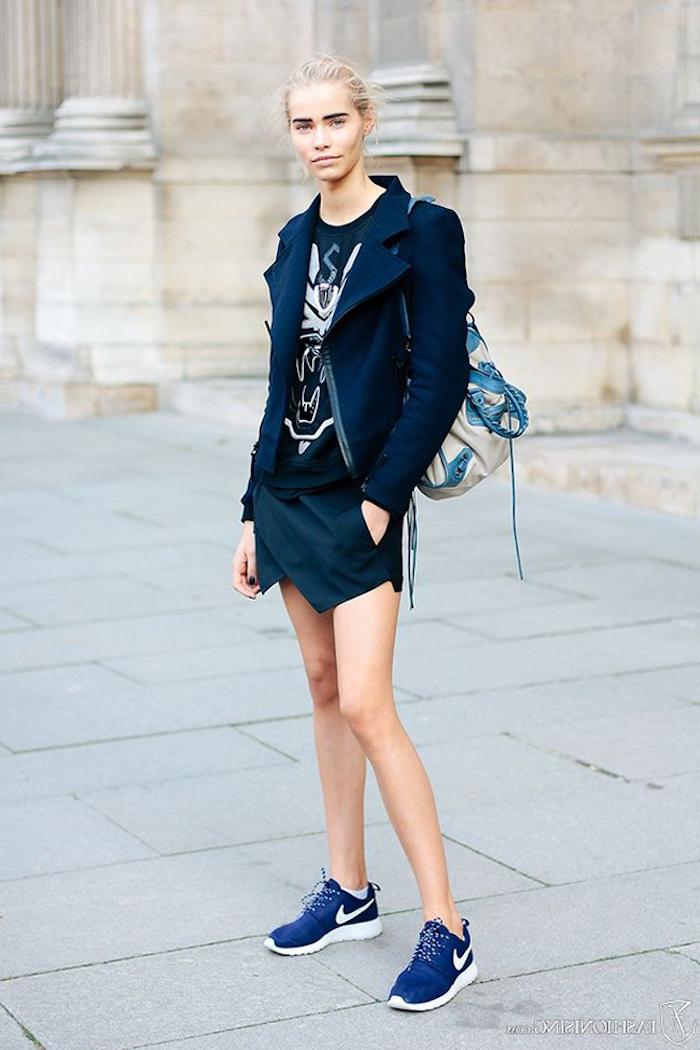 Basket blanche femme swag tenue femme moderne tendance baskets bleu nike chouette veste noir