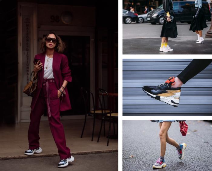 femme d'affaire en tailleur bordeaux combiné avec t-shirt blanc et paire de baskets dad sneakers pour un look contemporain décontracté