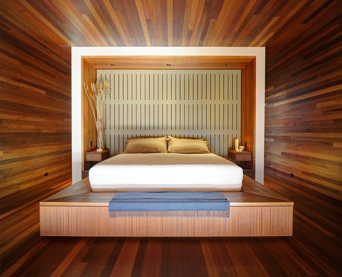 une couleur chambre adulte chaleureuse, lit plateforme, décoration feng shui