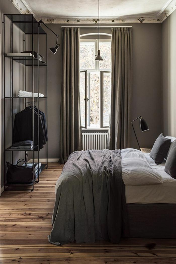 choisir la bonne couleur chambre adulte, une chambre grise à déco sérène