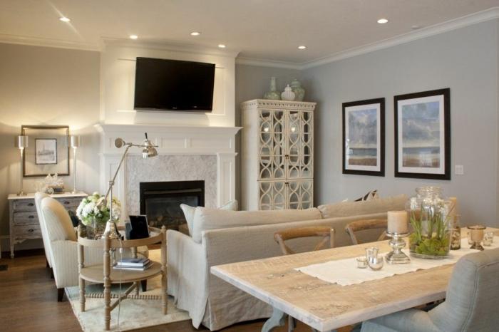 deco salle a manger et salon, table à manger en bois brut, peinture salon gris, armoire blanche vintage