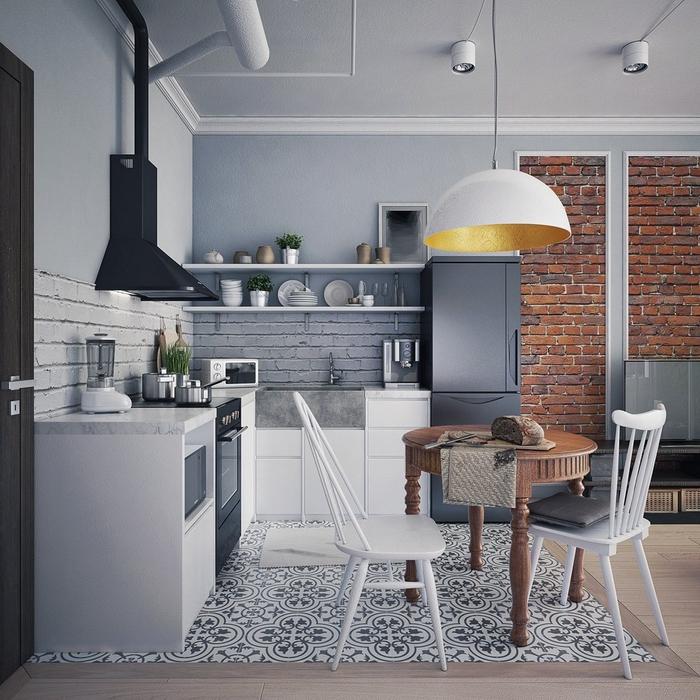 quelle couleur pour une cuisine de style loft industriel, l'aménagement d'une petite cuisine fonctionnelle en gris clair, gris anthracite et blanc délimitée par des carreaux de ciment