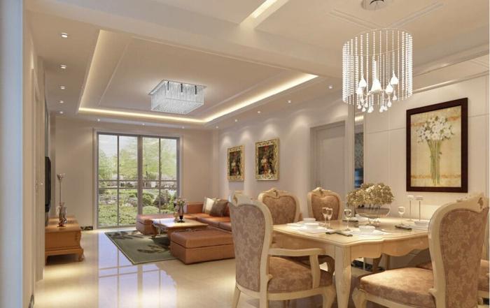 jolie décoration peinture salon, chaises baroques, plafonnier design, murs peints en couleurs neutres