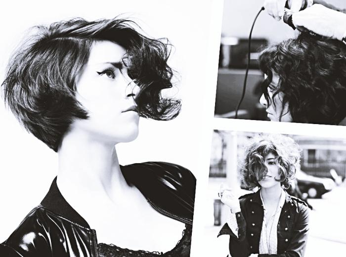 modèle de coupe courte cheveux bouclés, exemple de coiffure avec fer à boucler pour cheveux courts dégradés