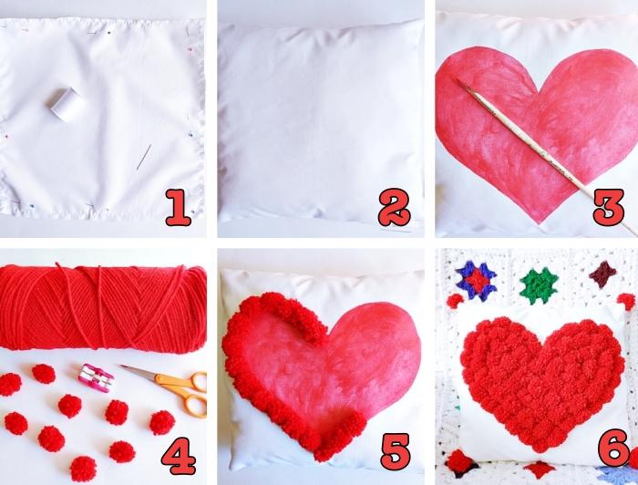 idée bricolage pour déco intérieur romantique, modèle de housse de coussin à tissu blanc avec dessin coeur rouge et pompons