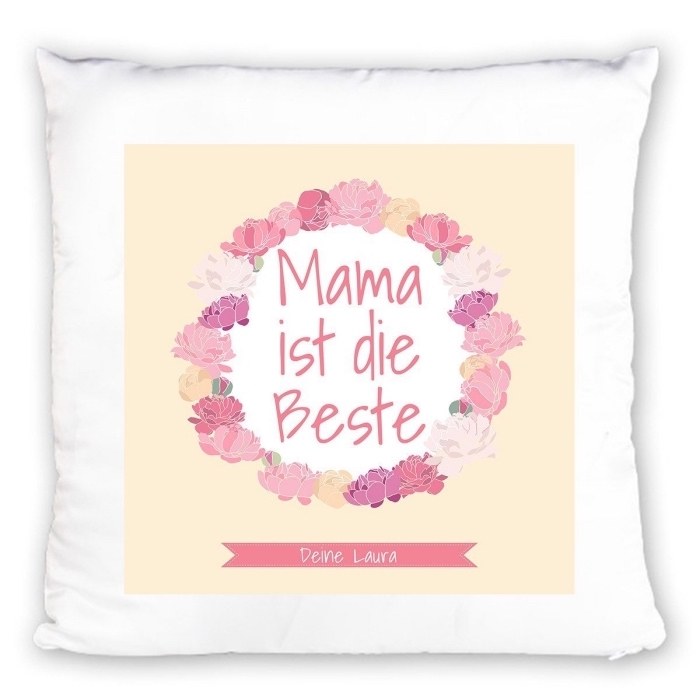 objet de décoration personnalisé en forme de coussin blanc et jaune aux mots doux la meilleure maman du monde