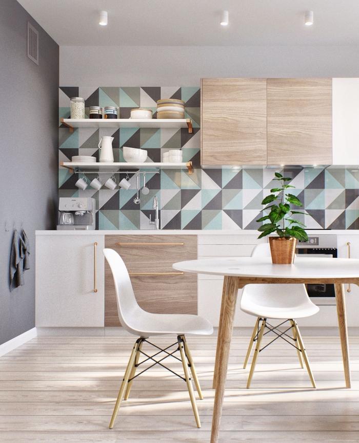 une cuisine d'esprit scandinave aux accents géométriques en gris et vert d'eau, idée couleur mur cuisine blanche et bois