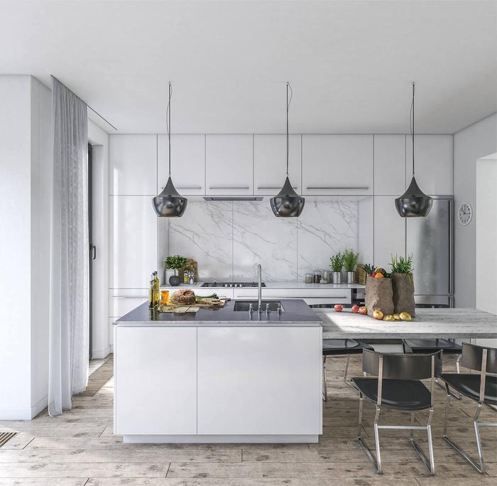 cuisine blanche et grise design aux accents métalliques