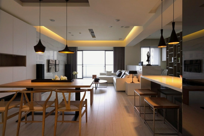 idee deco salon stylé design scandinave, intérieur déco minimaliste, faux plafond lumineux, lampes tom dixon