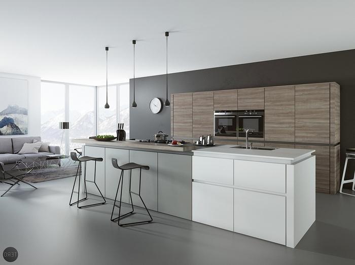 cuisine blanche et grise au design minimaliste associant lignes épurées et finitions mattes, rehaussée par un fond noir