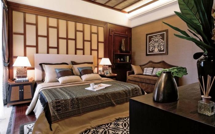 décoration chambre en beige et marron, déco murale japonaise, grande commode de bois
