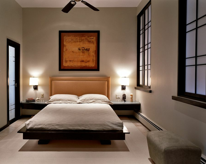 feng shui chambre, lit plateforme, lampe ventilateur, fenêtres style japonais, lampes de chevet