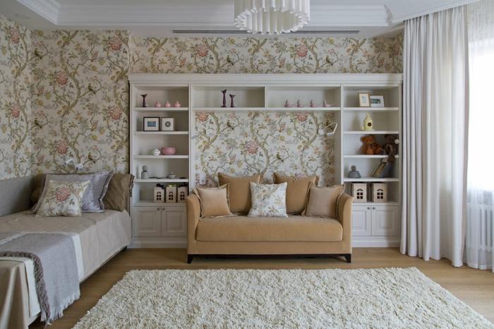deco mural, idee deco mur, habiller un mur en style romantique avec des roses et des feuilles vertes, tapis couleur blanc crème, luminaire tambour blanc