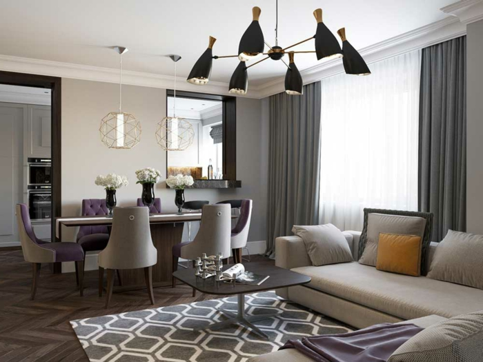 salle à manger et salon, tapis géométrique, table basse noire, lampes plafonnier moderne, table à manger