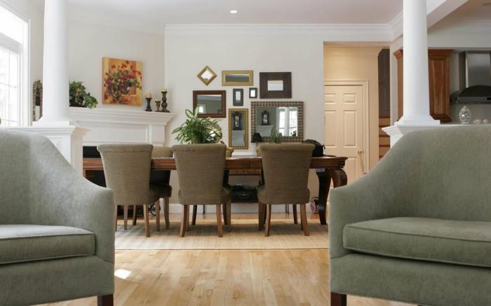 idee deco salon et salle à manger, grande table en bois, fauteuils gris, sol clair, déco murale originale