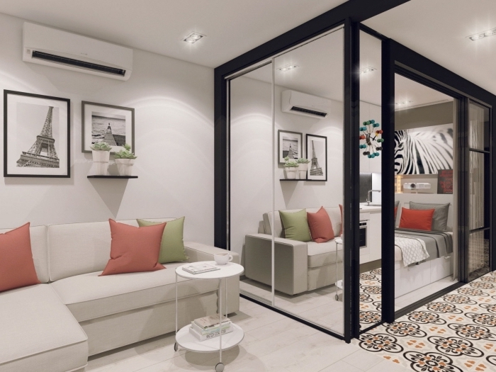 idée aménagement petit appartement avec cube aux portes coulissantes et vitrées pour diviser la cuisine du salon