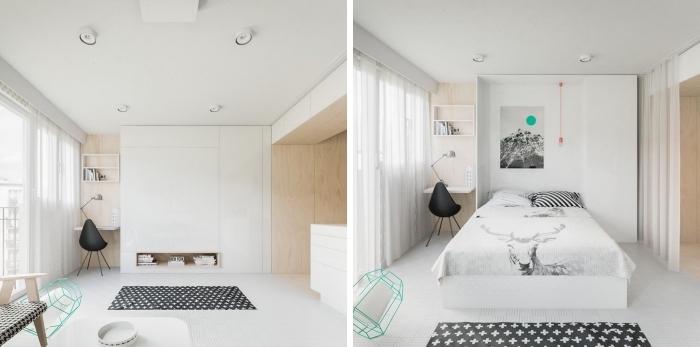 modèle de lit escamotable dans un petit studio aménagé avec meubles fonctionnels pour gagner de place