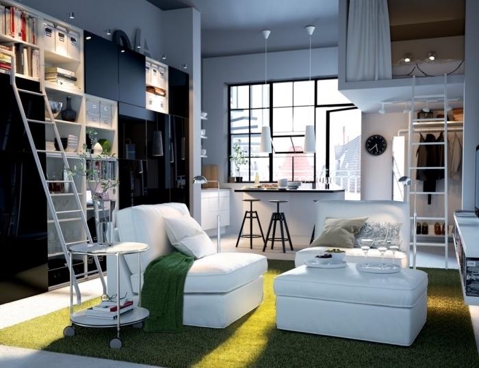meubles multifonctions à design escamotable et moderne, optimisation espace dans studio étudiant avec coin cuisine et salon
