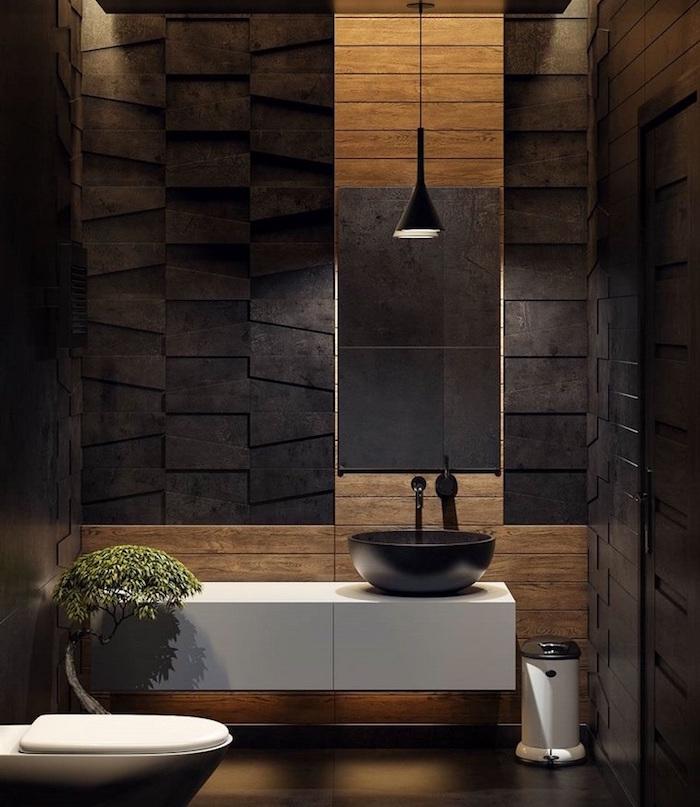 déco toilettes originales zen en bois et ardoise couleur marron noir design